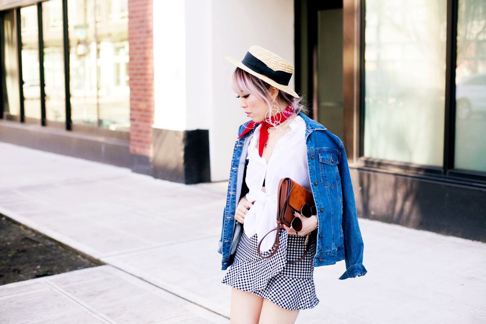 Forever 21 Denim jacket_H&M Straw hat_Urban Outfitter Red bandana_kohls kohl's button up shirt_ZARA statement earrings_H&M gingham mini skirt_Chloe Faye mini bag_ALDO Embroidered Mules_Aikas Love Closet_Seattle Fashion style logger_petite fashion 4