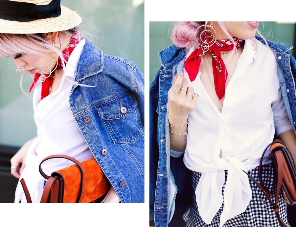 Forever 21 Denim jacket_H&M Straw hat_Urban Outfitter Red bandana_kohls kohl's button up shirt_ZARA statement earrings_H&M gingham mini skirt_Chloe Faye mini bag_ALDO Embroidered Mules_Aikas Love Closet_Seattle Fashion style logger_petite fashion 5