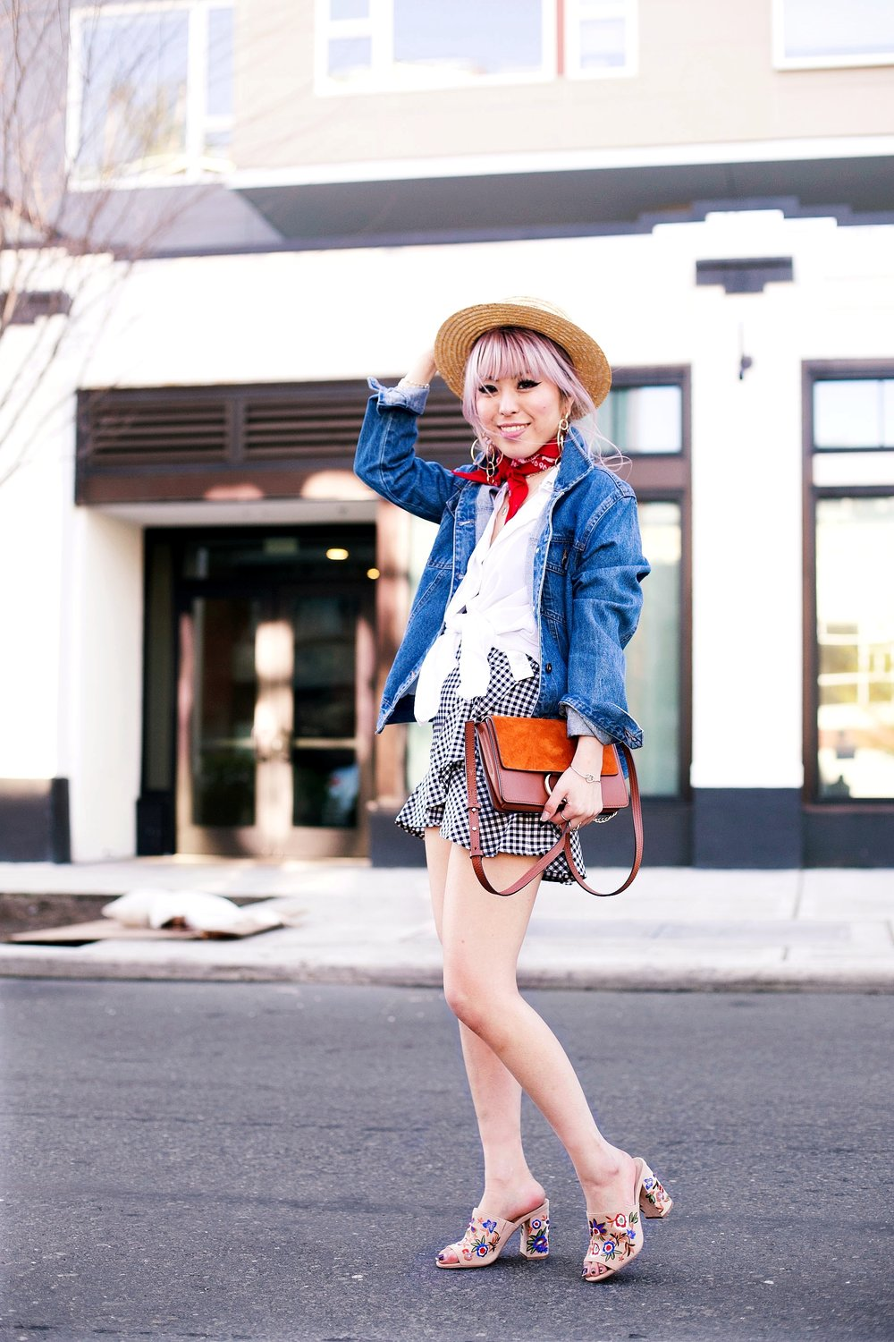 Forever 21 Denim jacket_H&M Straw hat_Urban Outfitter Red bandana_kohls kohl's button up shirt_ZARA statement earrings_H&M gingham mini skirt_Chloe Faye mini bag_ALDO Embroidered Mules_Aikas Love Closet_Seattle Fashion style logger_petite fashion 8