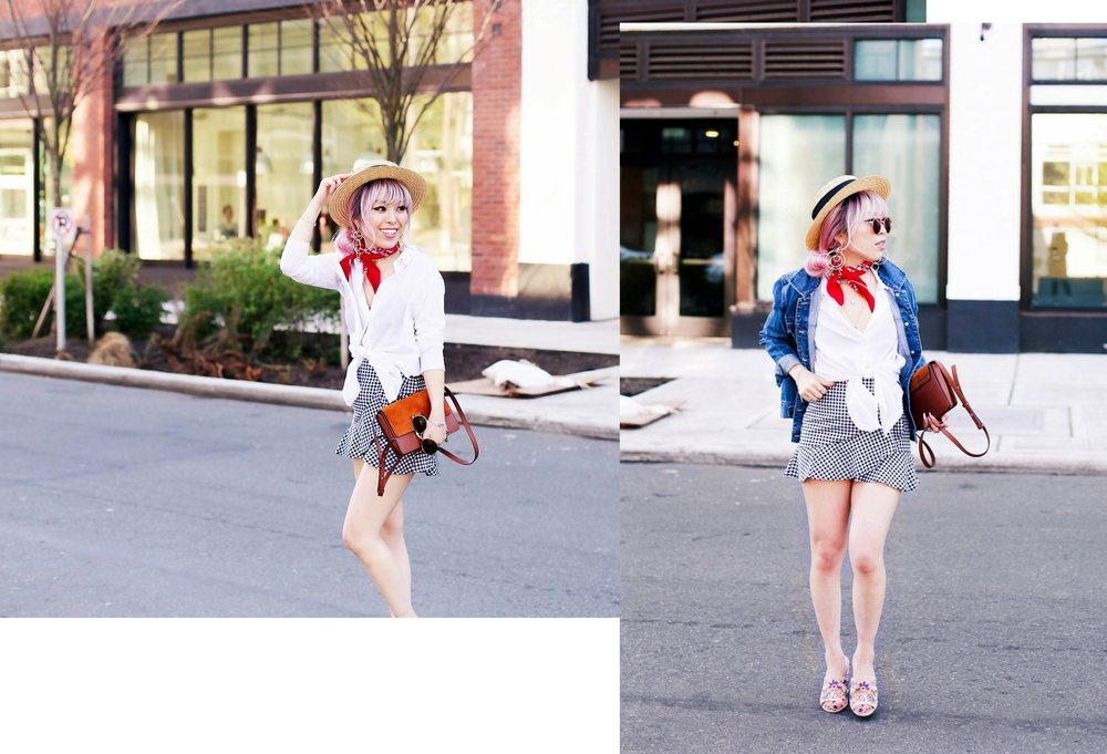 Forever 21 Denim jacket_H&M Straw hat_Urban Outfitter Red bandana_kohls kohl's button up shirt_ZARA statement earrings_H&M gingham mini skirt_Chloe Faye mini bag_ALDO Embroidered Mules_Aikas Love Closet_Seattle Fashion style logger_petite fashion 9