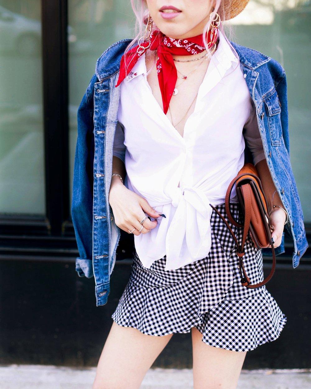Forever 21 Denim jacket_H&M Straw hat_Urban Outfitter Red bandana_kohls kohl's button up shirt_ZARA statement earrings_H&M gingham mini skirt_Chloe Faye mini bag_ALDO Embroidered Mules_Aikas Love Closet_Seattle Fashion style logger_petite fashion 10