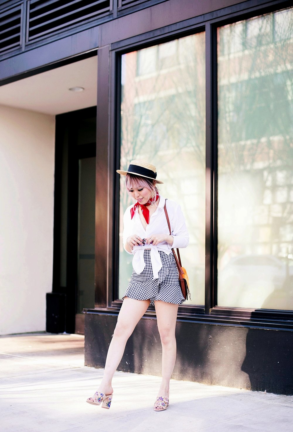 Forever 21 Denim jacket_H&M Straw hat_Urban Outfitter Red bandana_kohls kohl's button up shirt_ZARA statement earrings_H&M gingham mini skirt_Chloe Faye mini bag_ALDO Embroidered Mules_Aikas Love Closet_Seattle Fashion style logger_petite fashion 13