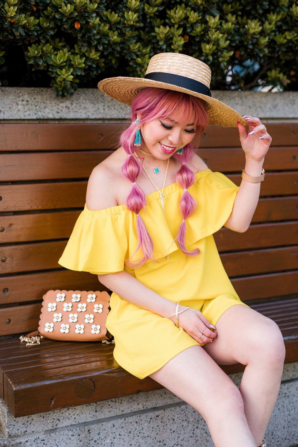 Lack Of Color Wide brim Straw Hat_Boohoo Yellow Off the shoulder dress via ASOS_ZARA CROSSBODY BAG WITH FLOWERS_Shoe Dazzle Lace up Wedge Sandals_Kendra Scott MISHA STATEMENT EARRINGS IN BRONZE VEINED TURQUOISE_KACEY LONG PENDANT NECKLACE IN BRONZE VEINED TURQUOISE_Phara Necklace In Gold_Stella Cuff Bracelet In Gold_Pink Hair_bubble pigtails hairstyle_Aikas Love Closet_Seattle Fashion Style Blogger_Japanese 3
