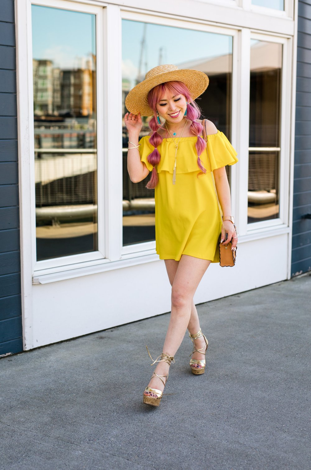 Lack Of Color Wide brim Straw Hat_Boohoo Yellow Off the shoulder dress via ASOS_ZARA CROSSBODY BAG WITH FLOWERS_Shoe Dazzle Lace up Wedge Sandals_Kendra Scott MISHA STATEMENT EARRINGS IN BRONZE VEINED TURQUOISE_KACEY LONG PENDANT NECKLACE IN BRONZE VEINED TURQUOISE_Phara Necklace In Gold_Stella Cuff Bracelet In Gold_Pink Hair_bubble pigtails hairstyle_Aikas Love Closet_Seattle Fashion Style Blogger_Japanese 7