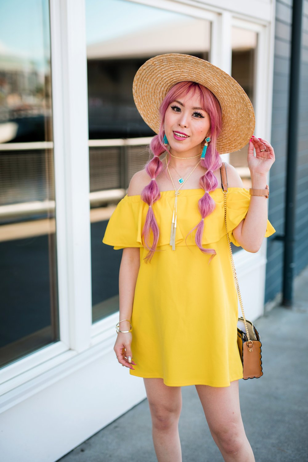 Lack Of Color Wide brim Straw Hat_Boohoo Yellow Off the shoulder dress via ASOS_ZARA CROSSBODY BAG WITH FLOWERS_Shoe Dazzle Lace up Wedge Sandals_Kendra Scott MISHA STATEMENT EARRINGS IN BRONZE VEINED TURQUOISE_KACEY LONG PENDANT NECKLACE IN BRONZE VEINED TURQUOISE_Phara Necklace In Gold_Stella Cuff Bracelet In Gold_Pink Hair_bubble pigtails hairstyle_Aikas Love Closet_Seattle Fashion Style Blogger_Japanese 8