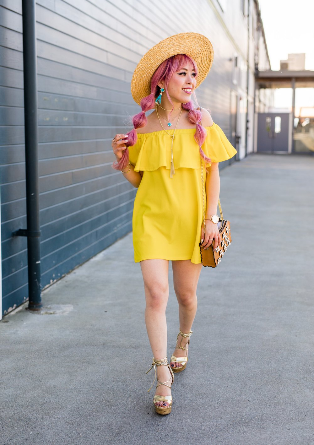 Lack Of Color Wide brim Straw Hat_Boohoo Yellow Off the shoulder dress via ASOS_ZARA CROSSBODY BAG WITH FLOWERS_Shoe Dazzle Lace up Wedge Sandals_Kendra Scott MISHA STATEMENT EARRINGS IN BRONZE VEINED TURQUOISE_KACEY LONG PENDANT NECKLACE IN BRONZE VEINED TURQUOISE_Phara Necklace In Gold_Stella Cuff Bracelet In Gold_Pink Hair_bubble pigtails hairstyle_Aikas Love Closet_Seattle Fashion Style Blogger_Japanese 15