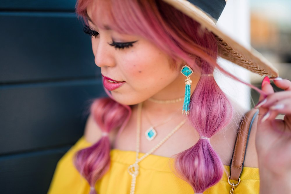 Lack Of Color Wide brim Straw Hat_Boohoo Yellow Off the shoulder dress via ASOS_ZARA CROSSBODY BAG WITH FLOWERS_Shoe Dazzle Lace up Wedge Sandals_Kendra Scott MISHA STATEMENT EARRINGS IN BRONZE VEINED TURQUOISE_KACEY LONG PENDANT NECKLACE IN BRONZE VEINED TURQUOISE_Phara Necklace In Gold_Stella Cuff Bracelet In Gold_Pink Hair_bubble pigtails hairstyle_Aikas Love Closet_Seattle Fashion Style Blogger_Japanese 18