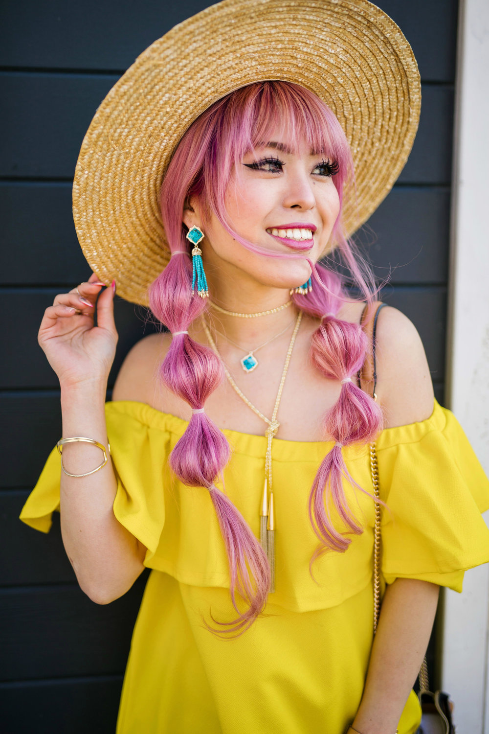 Lack Of Color Wide brim Straw Hat_Boohoo Yellow Off the shoulder dress via ASOS_ZARA CROSSBODY BAG WITH FLOWERS_Shoe Dazzle Lace up Wedge Sandals_Kendra Scott MISHA STATEMENT EARRINGS IN BRONZE VEINED TURQUOISE_KACEY LONG PENDANT NECKLACE IN BRONZE VEINED TURQUOISE_Phara Necklace In Gold_Stella Cuff Bracelet In Gold_Pink Hair_bubble pigtails hairstyle_Aikas Love Closet_Seattle Fashion Style Blogger_Japanese 17