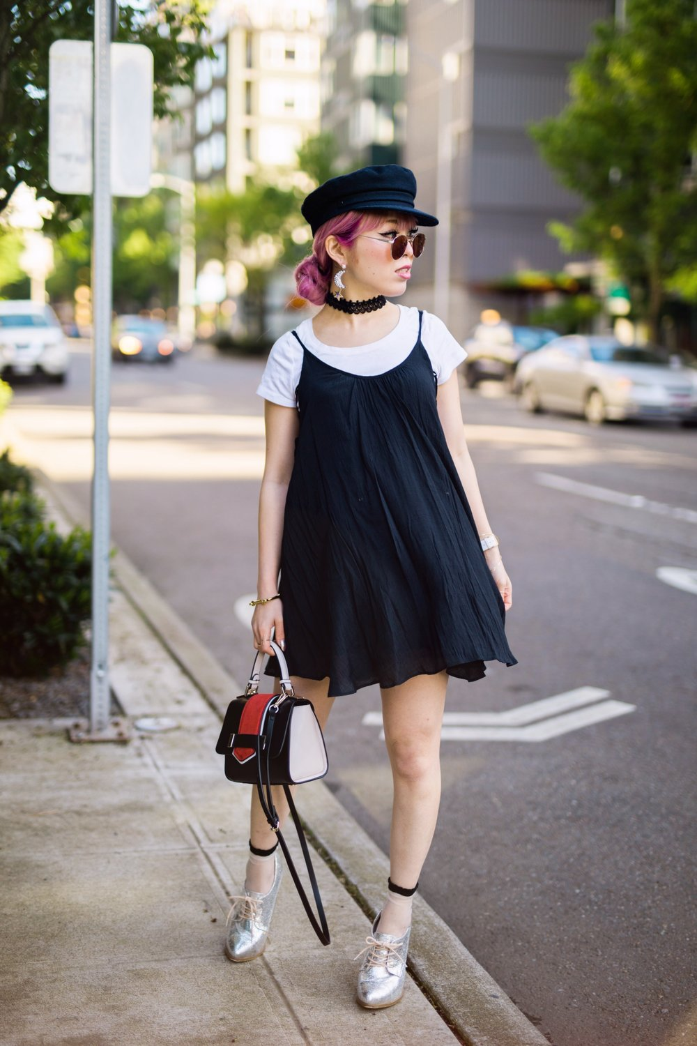 Aritzia News Boy Cap_Polette Retro Round Sunglasses_Mango Moon Star Earrings_Shopdixi Lace Choker_Forever 21 White Tee_Urban Outfitters Little Black Dress_Zara Bag_Sheer ankle Socks_ASOS Glitter Block heels Shoes_Aikas Love Closet_Seattle Fashion Blogger_Japanese_Pink hair