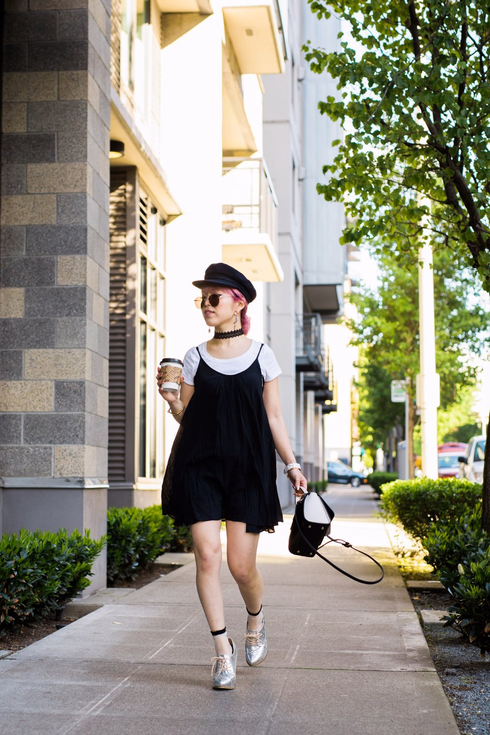Aritzia News Boy Cap_Polette Retro Round Sunglasses_Mango Moon Star Earrings_Shopdixi Lace Choker_Forever 21 White Tee_Urban Outfitters Little Black Dress_Zara Bag_Sheer ankle Socks_ASOS Glitter Block heels Shoes_Aikas Love Closet_Seattle Fashion Blogger_Japanese_Pink hair 6
