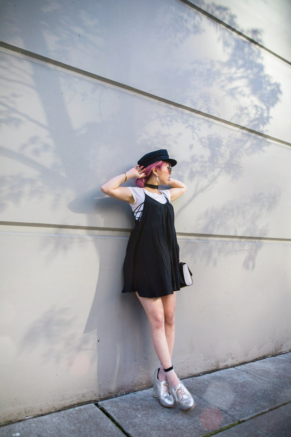 Aritzia News Boy Cap_Polette Retro Round Sunglasses_Mango Moon Star Earrings_Shopdixi Lace Choker_Forever 21 White Tee_Urban Outfitters Little Black Dress_Zara Bag_Sheer ankle Socks_ASOS Glitter Block heels Shoes_Aikas Love Closet_Seattle Fashion Blogger_Japanese_Pink hair 7