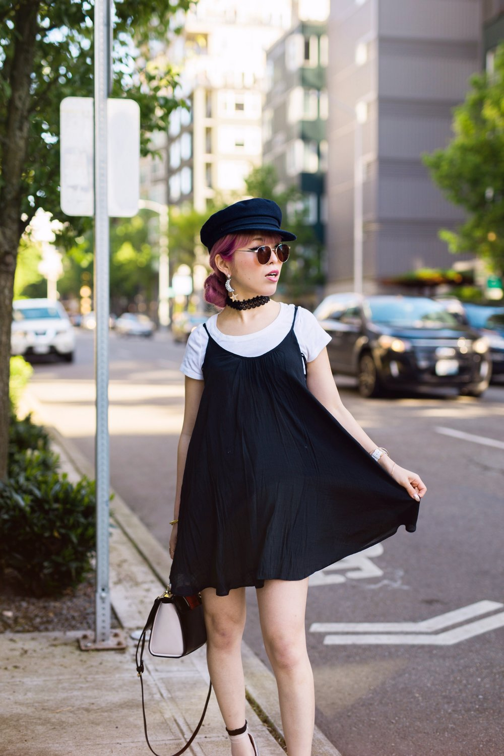 Aritzia News Boy Cap_Polette Retro Round Sunglasses_Mango Moon Star Earrings_Shopdixi Lace Choker_Forever 21 White Tee_Urban Outfitters Little Black Dress_Zara Bag_Sheer ankle Socks_ASOS Glitter Block heels Shoes_Aikas Love Closet_Seattle Fashion Blogger_Japanese_Pink hair 9