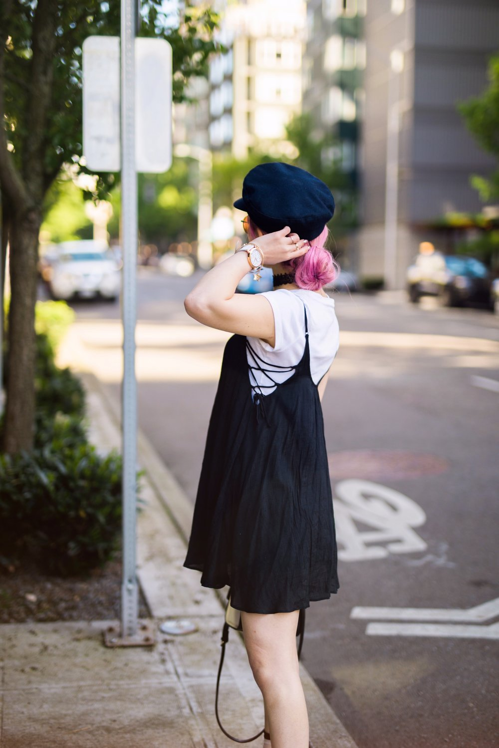 Aritzia News Boy Cap_Polette Retro Round Sunglasses_Mango Moon Star Earrings_Shopdixi Lace Choker_Forever 21 White Tee_Urban Outfitters Little Black Dress_Zara Bag_Sheer ankle Socks_ASOS Glitter Block heels Shoes_Aikas Love Closet_Seattle Fashion Blogger_Japanese_Pink hair 10