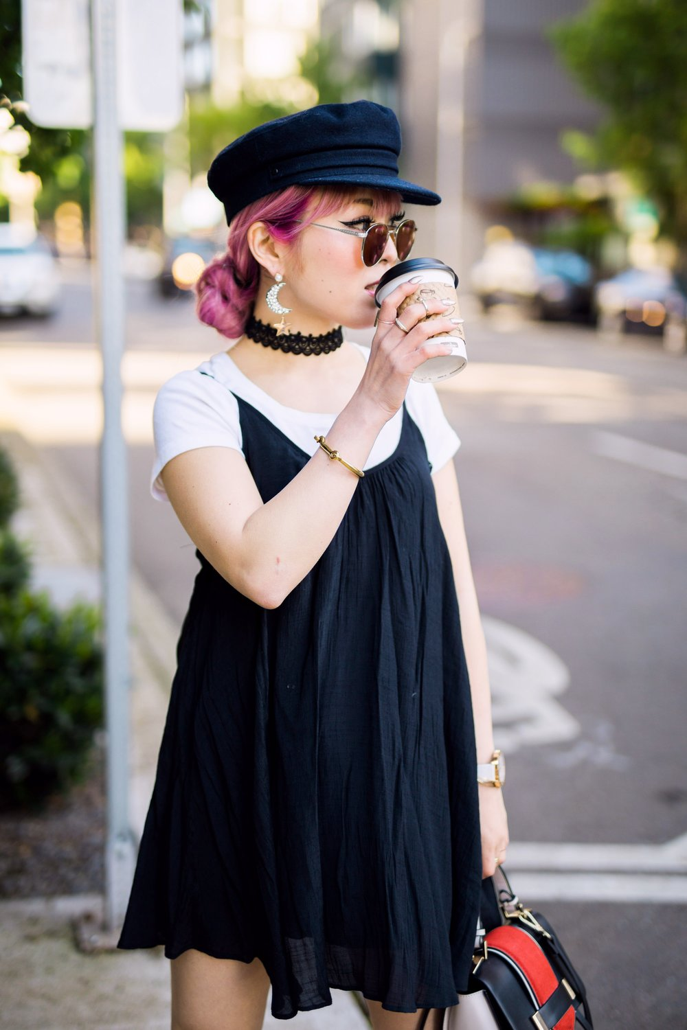 Aritzia News Boy Cap_Polette Retro Round Sunglasses_Mango Moon Star Earrings_Shopdixi Lace Choker_Forever 21 White Tee_Urban Outfitters Little Black Dress_Zara Bag_Sheer ankle Socks_ASOS Glitter Block heels Shoes_Aikas Love Closet_Seattle Fashion Blogger_Japanese_Pink hair 16