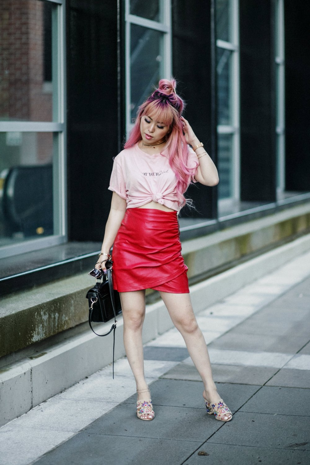 NA-KD Pink Not Your Girl Tee_ZARA Red Leather mini skirt_ALSO Embroidered Mules_Daniel Wellington classic petite melrose rose gold black_Pink hair_Half top knot hair_Aikas Love Closet_Seattle Fashion Blogger_Japanese 8