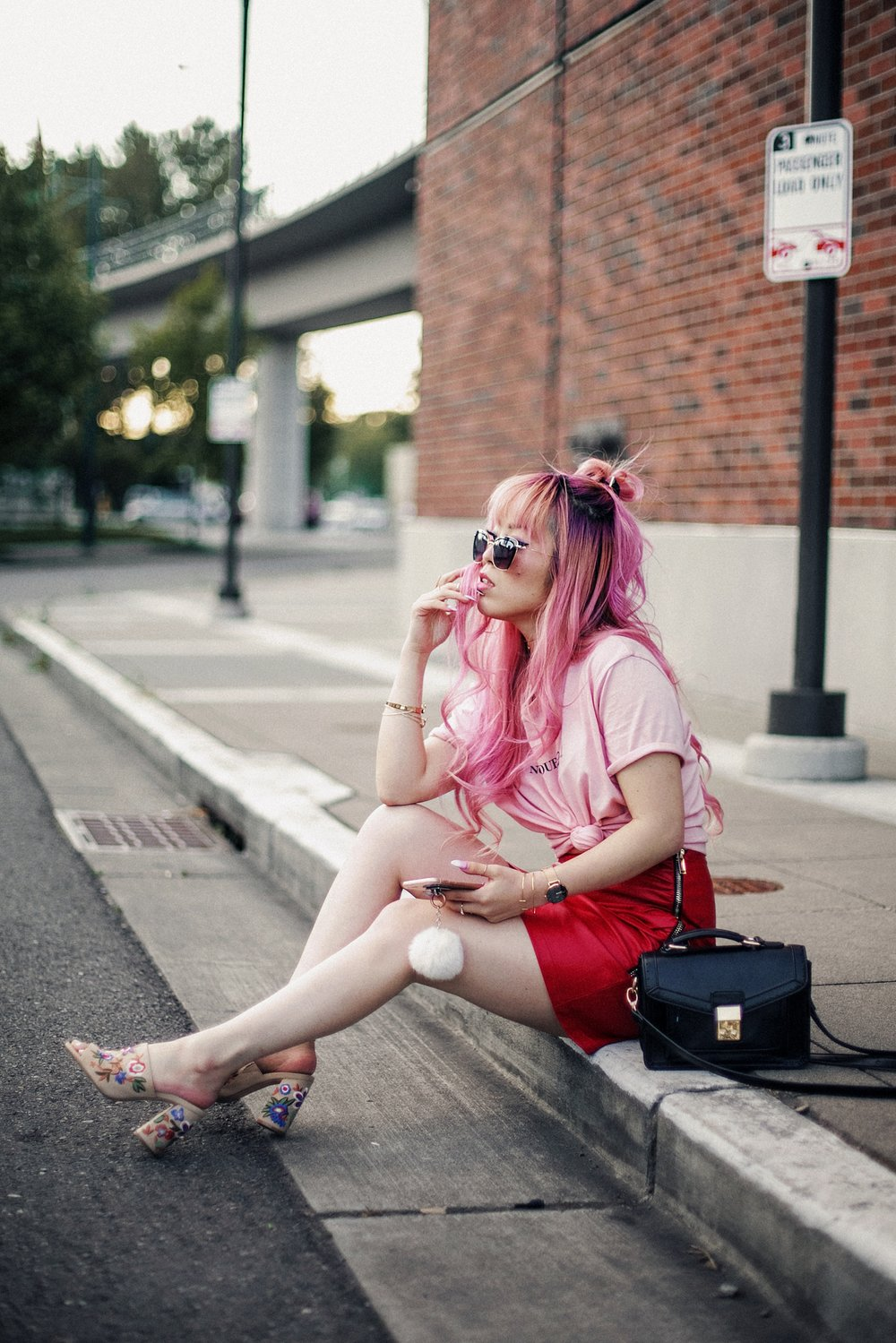 NA-KD Pink Not Your Girl Tee_ZARA Red Leather mini skirt_ALSO Embroidered Mules_Daniel Wellington classic petite melrose rose gold black_Pink hair_Half top knot hair_Aikas Love Closet_Seattle Fashion Blogger_Japanese 17