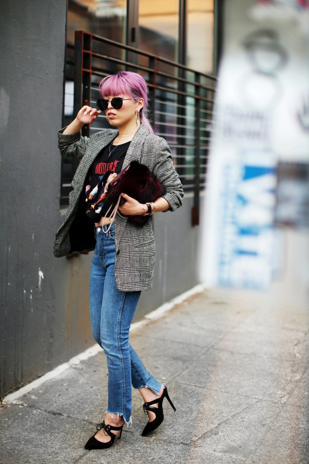 Nordstrom Plaid Blazer_Vintage Rockband Tee_Free People High Waisted Jeans_Daniel Wellington Watch_ASOS Black Mules_DVF Fur Bag_Pink Hair_Aika's Love Closet_Seattle Fashion Style Blogger_Japanese