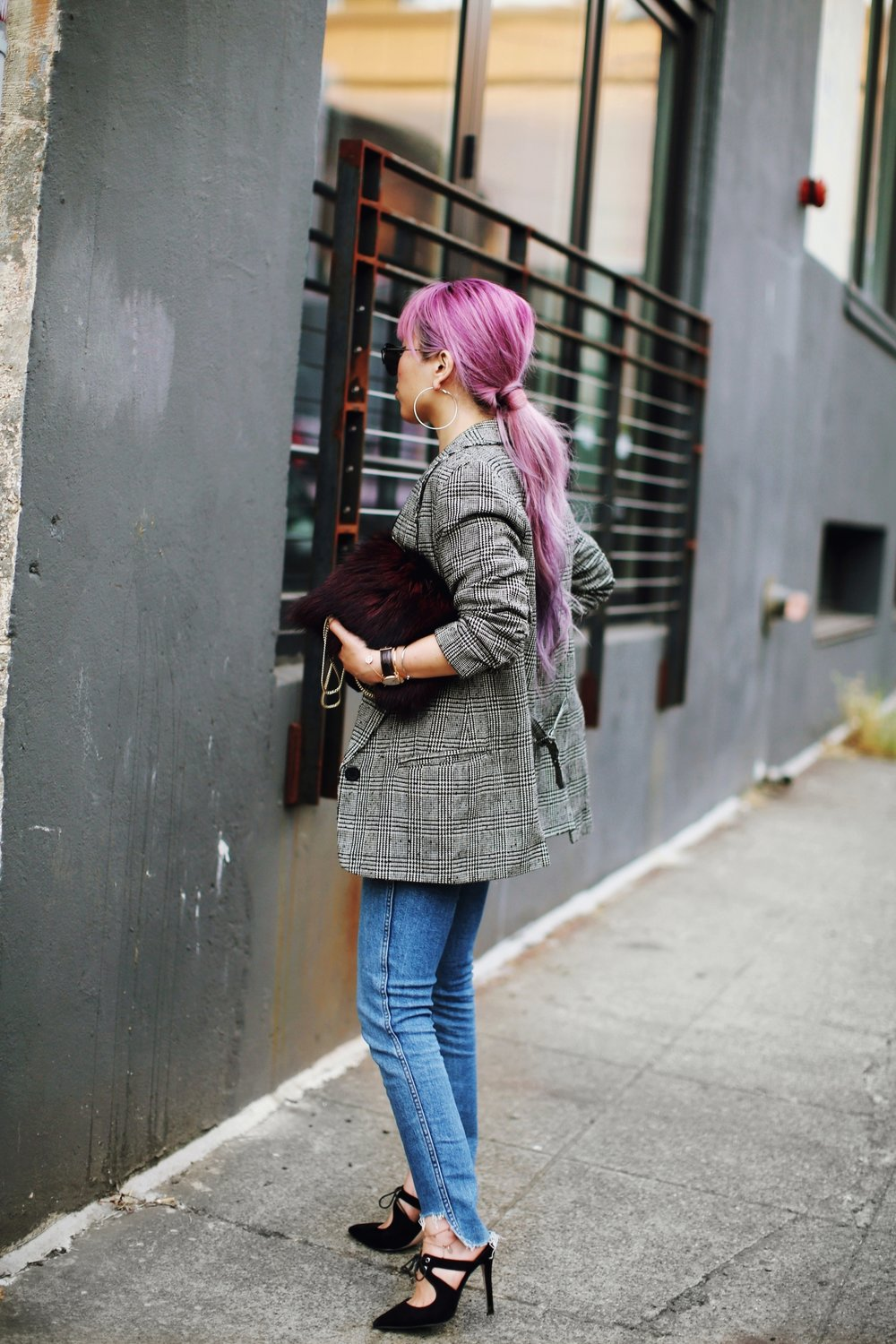Nordstrom Plaid Blazer_Vintage Rockband Tee_Free People High Waisted Jeans_Daniel Wellington Watch_ASOS Black Mules_DVF Fur Bag_Pink Hair_Aika's Love Closet_Seattle Fashion Style Blogger_Japanese 2