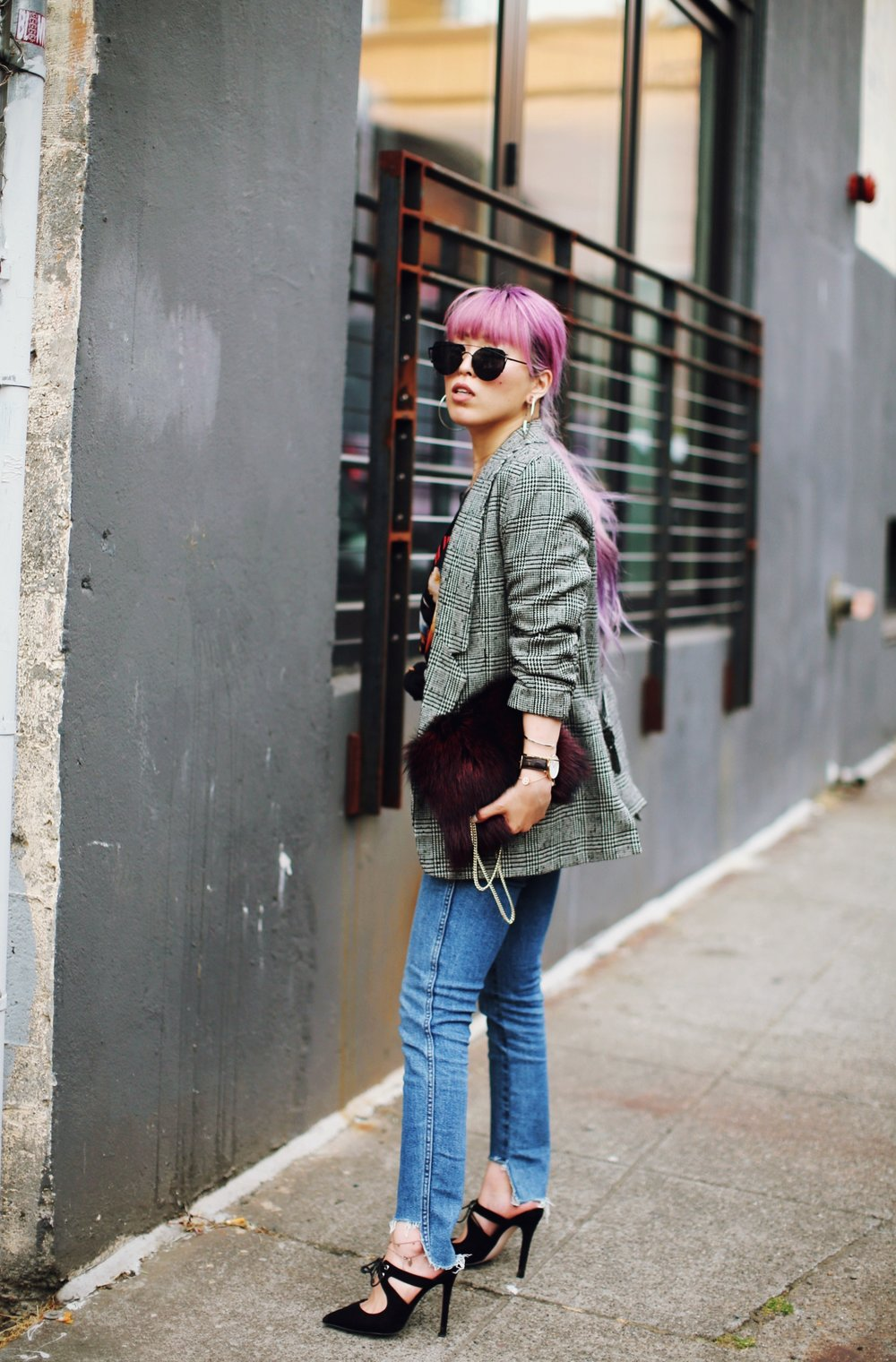 Nordstrom Plaid Blazer_Vintage Rockband Tee_Free People High Waisted Jeans_Daniel Wellington Watch_ASOS Black Mules_DVF Fur Bag_Pink Hair_Aika's Love Closet_Seattle Fashion Style Blogger_Japanese 3