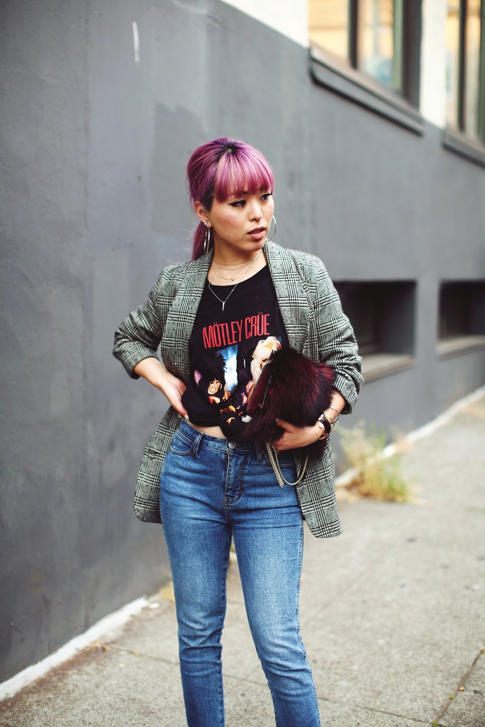 Nordstrom Plaid Blazer_Vintage Rockband Tee_Free People High Waisted Jeans_Daniel Wellington Watch_ASOS Black Mules_DVF Fur Bag_Pink Hair_Aika's Love Closet_Seattle Fashion Style Blogger_Japanese 5