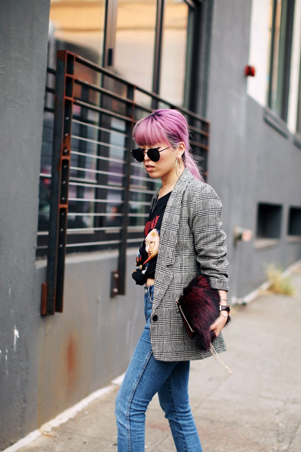 Nordstrom Plaid Blazer_Vintage Rockband Tee_Free People High Waisted Jeans_Daniel Wellington Watch_ASOS Black Mules_DVF Fur Bag_Pink Hair_Aika's Love Closet_Seattle Fashion Style Blogger_Japanese 6