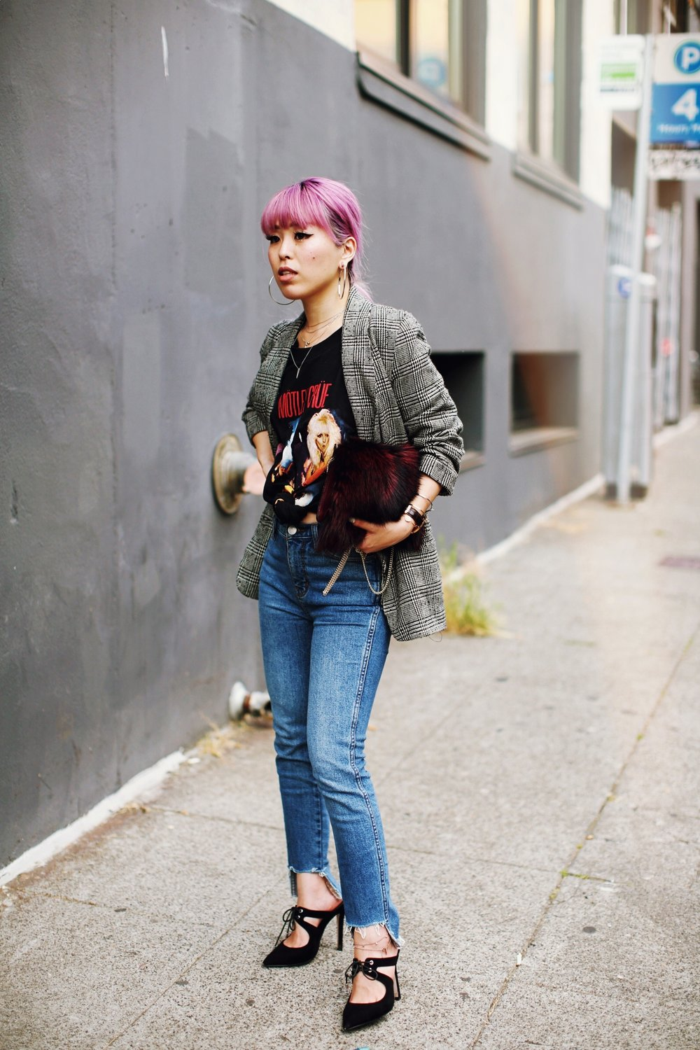 Nordstrom Plaid Blazer_Vintage Rockband Tee_Free People High Waisted Jeans_Daniel Wellington Watch_ASOS Black Mules_DVF Fur Bag_Swarovski Remix Collection Smiling Face_Pink Hair_Aika's Love Closet_Seattle Fashion Style Blogger_Japanese 11