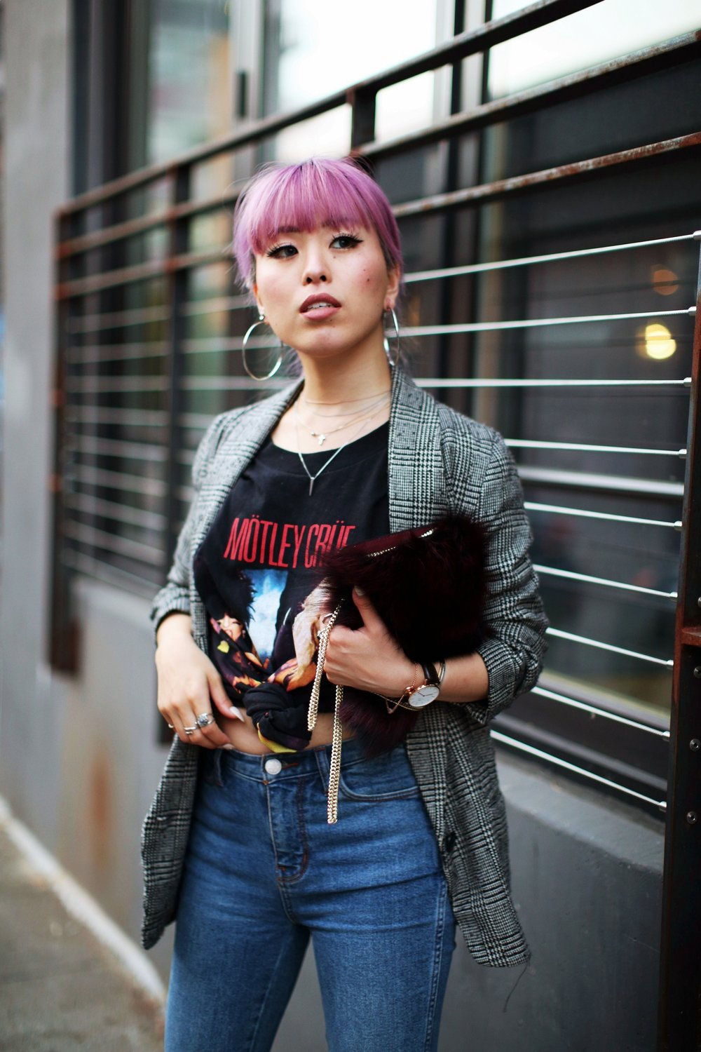 Nordstrom Plaid Blazer_Vintage Rockband Tee_Free People High Waisted Jeans_Daniel Wellington Watch_ASOS Black Mules_DVF Fur Bag_Swarovski Remix Collection Smiling Face_Pink Hair_Aika's Love Closet_Seattle Fashion Style Blogger_Japanese 16