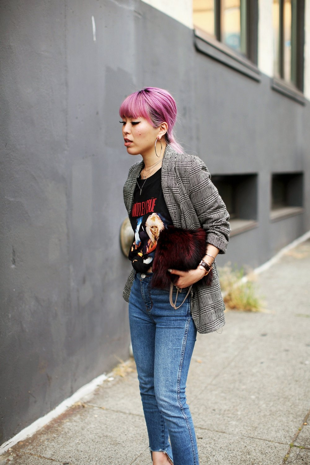 Nordstrom Plaid Blazer_Vintage Rockband Tee_Free People High Waisted Jeans_Daniel Wellington Watch_ASOS Black Mules_DVF Fur Bag_Swarovski Remix Collection Smiling Face_Pink Hair_Aika's Love Closet_Seattle Fashion Style Blogger_Japanese 17