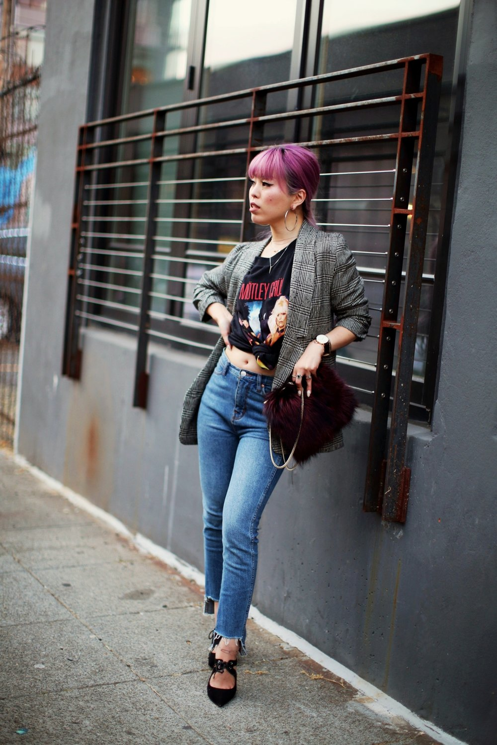 Nordstrom Plaid Blazer_Vintage Rockband Tee_Free People High Waisted Jeans_Daniel Wellington Watch_ASOS Black Mules_DVF Fur Bag_Swarovski Remix Collection Smiling Face_Pink Hair_Aika's Love Closet_Seattle Fashion Style Blogger_Japanese 18