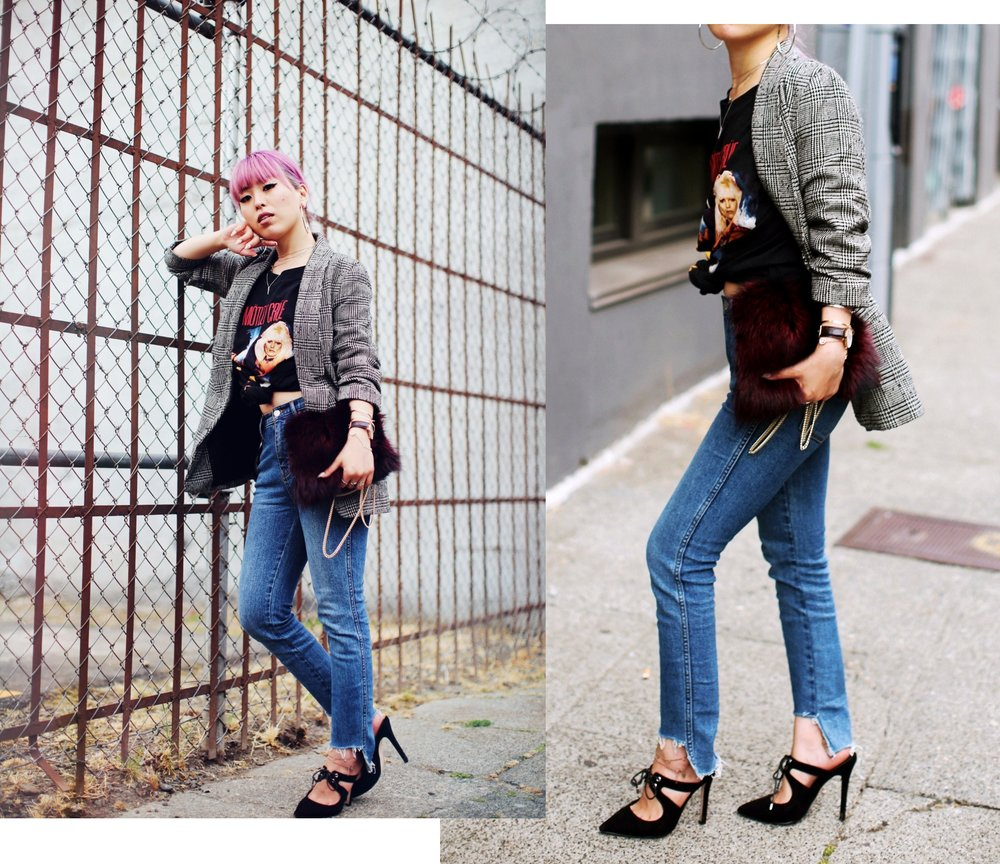 Nordstrom Plaid Blazer_Vintage Rockband Tee_Free People High Waisted Jeans_Daniel Wellington Watch_ASOS Black Mules_DVF Fur Bag_Swarovski Remix Collection Smiling Face_Pink Hair_Aika's Love Closet_Seattle Fashion Style Blogger_Japanese 20