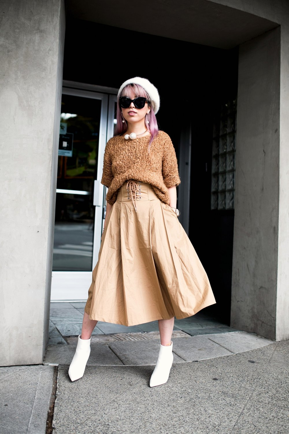 Forever 21 Fluffy White Beret, Express Pearl Collar Necklace, Thrifted Teddy Camel Top, H&M High-waisted camel midi skirt, zara velvet bag, Forever 21 White Ankle Boots, Aika's Love Closet, Seattle Fashion Style Blogger, Japanese, pink hair, street style, petite fashion  3