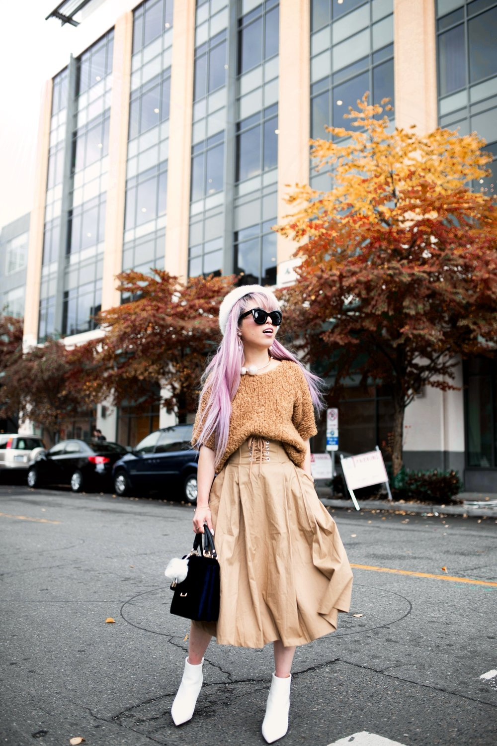 Forever 21 Fluffy White Beret, Express Pearl Collar Necklace, Thrifted Teddy Camel Top, H&M High-waisted camel midi skirt, zara velvet bag, Forever 21 White Ankle Boots, Aika's Love Closet, Seattle Fashion Style Blogger, Japanese, pink hair, street style, petite fashion  5