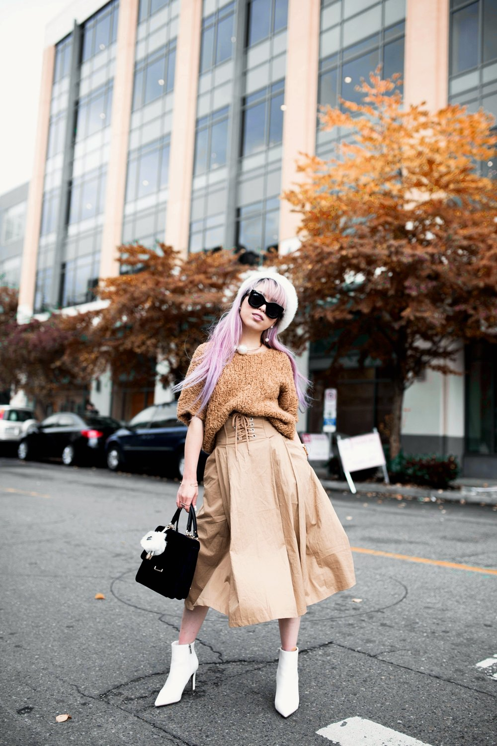 Forever 21 Fluffy White Beret, Express Pearl Collar Necklace, Thrifted Teddy Camel Top, H&M High-waisted camel midi skirt, zara velvet bag, Forever 21 White Ankle Boots, Aika's Love Closet, Seattle Fashion Style Blogger, Japanese, pink hair, street style, petite fashion  6