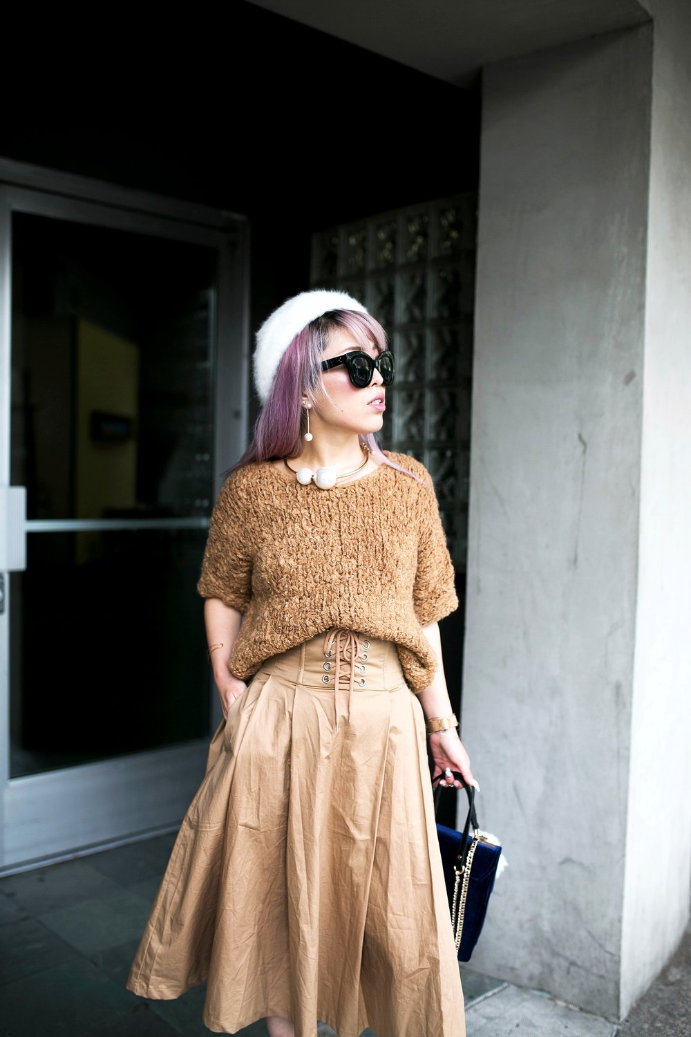 Forever 21 Fluffy White Beret, Express Pearl Collar Necklace, Thrifted Teddy Camel Top, H&M High-waisted camel midi skirt, zara velvet bag, Forever 21 White Ankle Boots, Aika's Love Closet, Seattle Fashion Style Blogger, Japanese, pink hair, street style, petite fashion  7