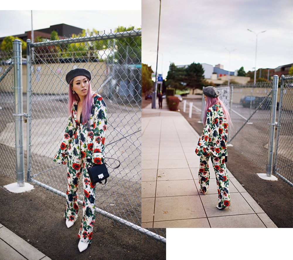 H&M Floral Pajama-Forever 21 Gray Beret & White Ankle Boots-Swarovski Earrings & Necklaces-Pink hair-Petite-Fashion Style Seattle Blogger From Japan 2