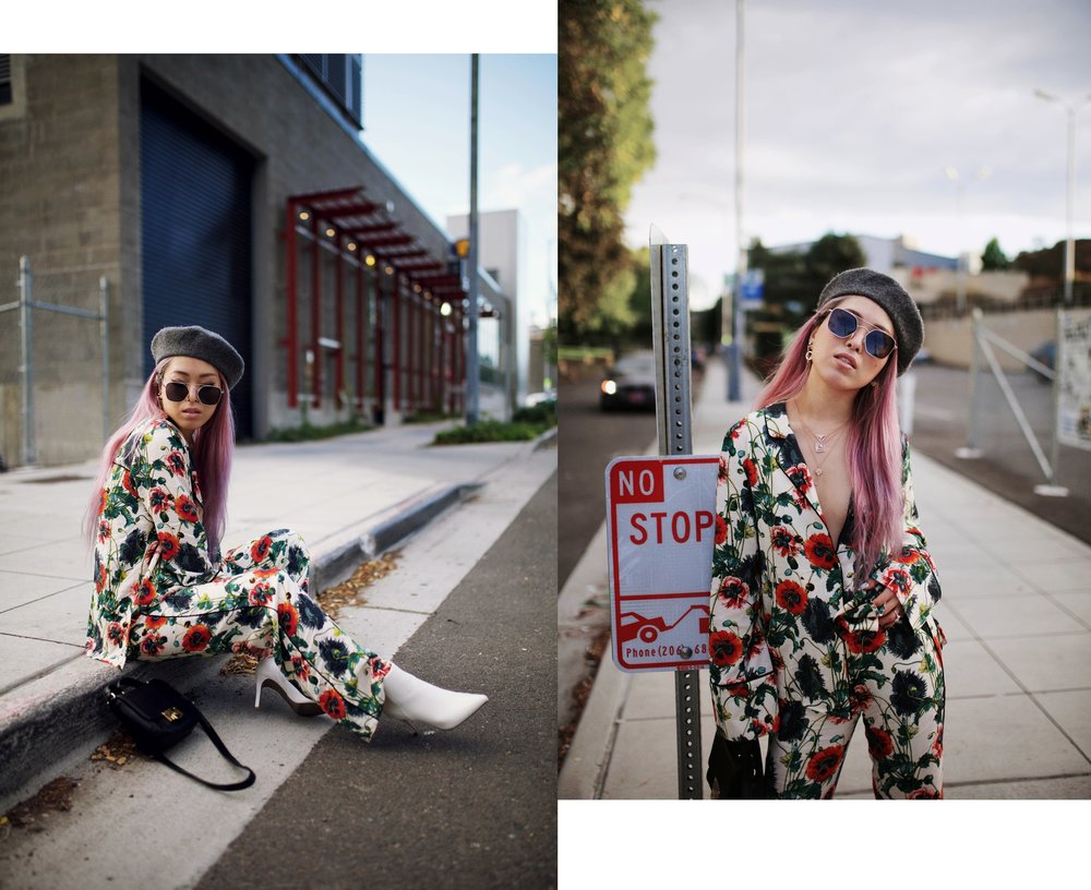 H&M Floral Pajama-Forever 21 Gray Beret & White Ankle Boots-Swarovski Earrings & Necklaces-Pink hair-Aika's Love Closet-Petite-Fashion Style Seattle Blogger From Japan