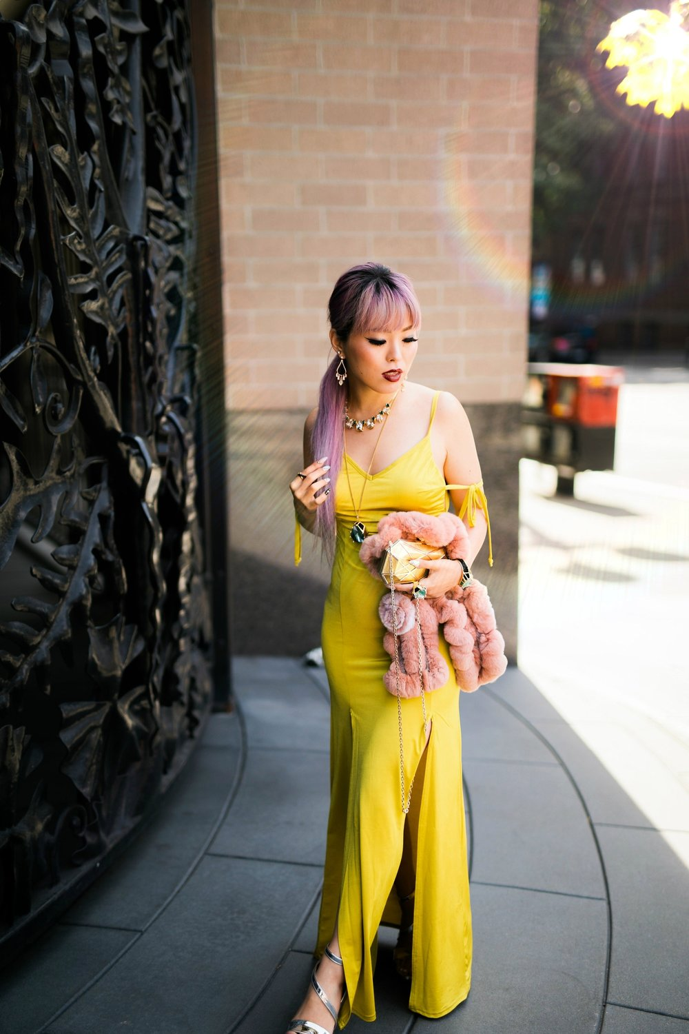 9-23-2017AikasLoveCloset-18-Full.jpgNasty Gal yellow satin Long Term Maxi Dress-Zara Silver heeled sandals-Swarovski Rose Gold-Tone Crystal Chandelier Earrings-Huge Ring, Multi-colored, Gold plating-Swarovski Rose Goldplated Crystaldust Cross Ring-Swarovski Pave Crystal Pendant Necklace-Gold Clutch-Pink faux fur scarf-pink hair-settle fashion style blogger-petite-japanese-aika's love closet 12