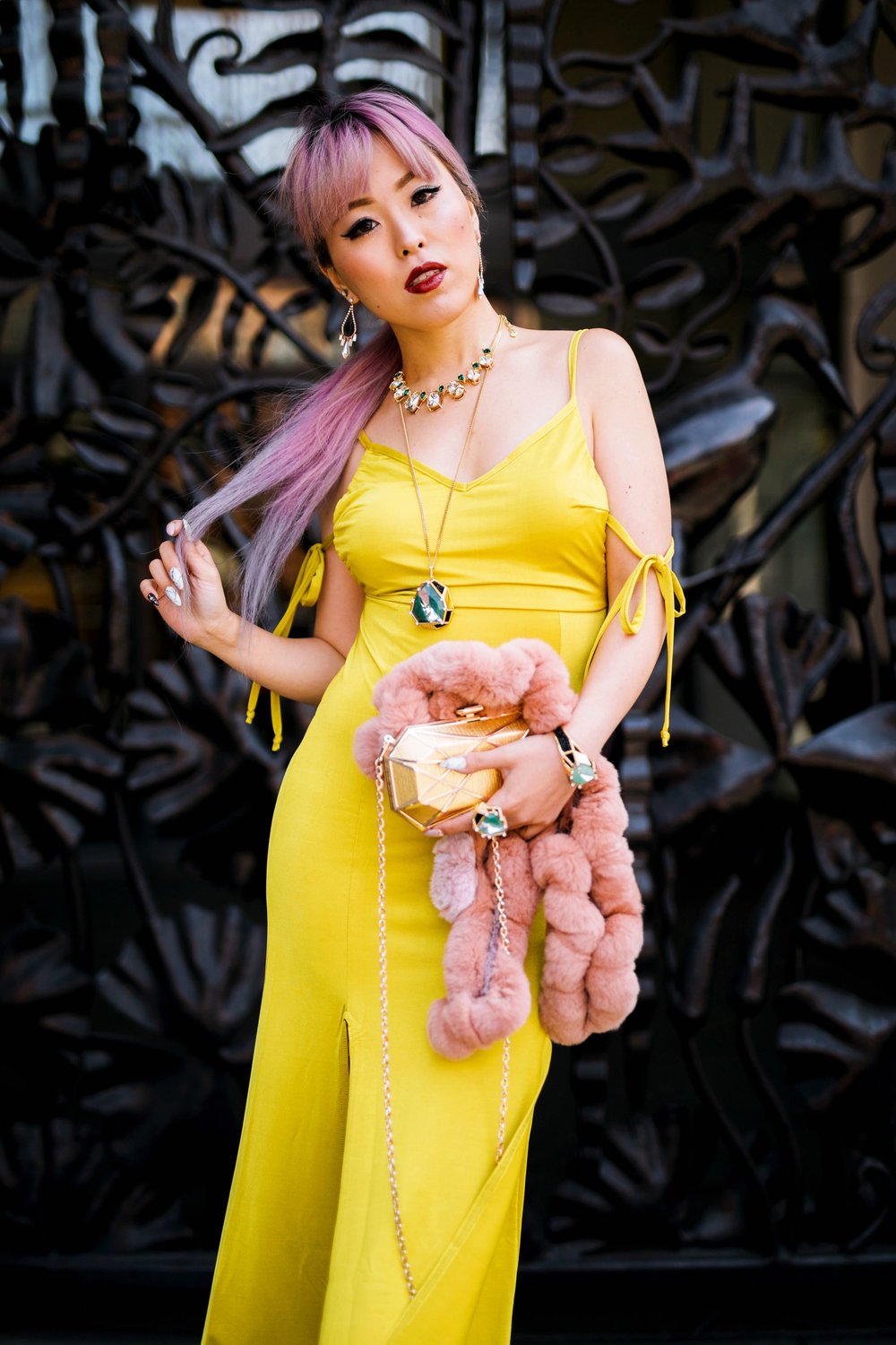 Nasty Gal yellow satin Long Term Maxi Dress-Zara Silver heeled sandals-Swarovski Rose Gold-Tone Crystal Chandelier Earrings-Huge Ring, Multi-colored, Gold plating-Swarovski Rose Goldplated Crystaldust Cross Ring-Swarovski Pave Crystal Pendant Necklace-Gold Clutch-Pink faux fur scarf-pink hair-settle fashion style blogger-petite-japanese-aika's love closet 18