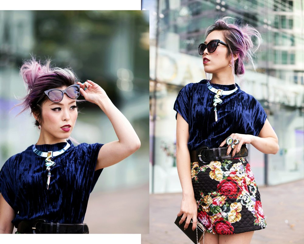 Top Velvet Fashion Trends for winter- aika's Love closet-japanese-seattle style fashion blogger-colored hair-zara