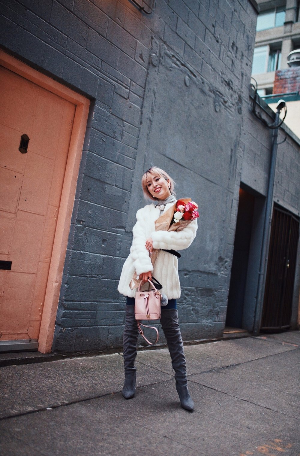 H&M Gray Turtleneck Sweater-ASOS high waisted skinny jean-EGO Grey Over the Knee Boots-While Faux Fur Coat-Forever 21 Pearl Belt & Pink Mini Basket Bag-Chanel Ribbon Hair-Valentine's Day-Rose bouquet-Pink Hair-Japanese-Seattle Style Fashion Blogger-AikA's Love Closet