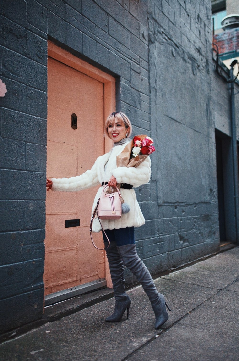 H&M Gray Turtleneck Sweater-ASOS high waisted skinny jean-EGO Grey Over the Knee Boots-While Faux Fur Coat-Forever 21 Pearl Belt & Pink Mini Basket Bag-Chanel Ribbon Hair-Valentine's Day-Rose bouquet-Pink Hair-Japanese-Seattle Style Fashion Blogger-AikA's Love Closet 8