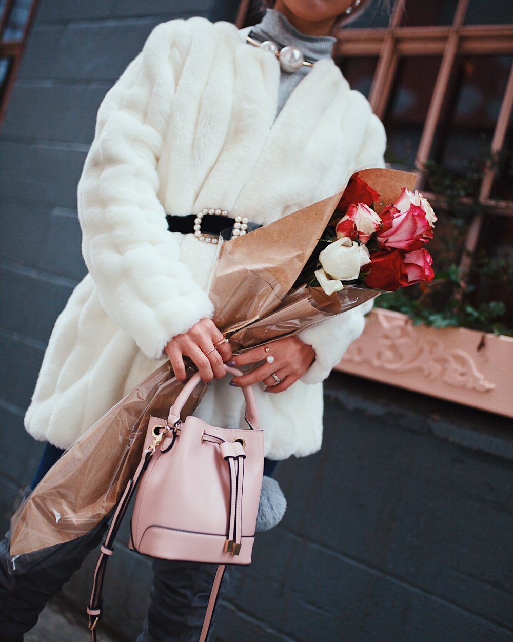 H&M Gray Turtleneck Sweater-ASOS high waisted skinny jean-EGO Grey Over the Knee Boots-While Faux Fur Coat-Forever 21 Pearl Belt & Pink Mini Basket Bag-Chanel Ribbon Hair-Valentine's Day-Rose bouquet-Pink Hair-Japanese-Seattle Style Fashion Blogger-AikA's Love Closet 19