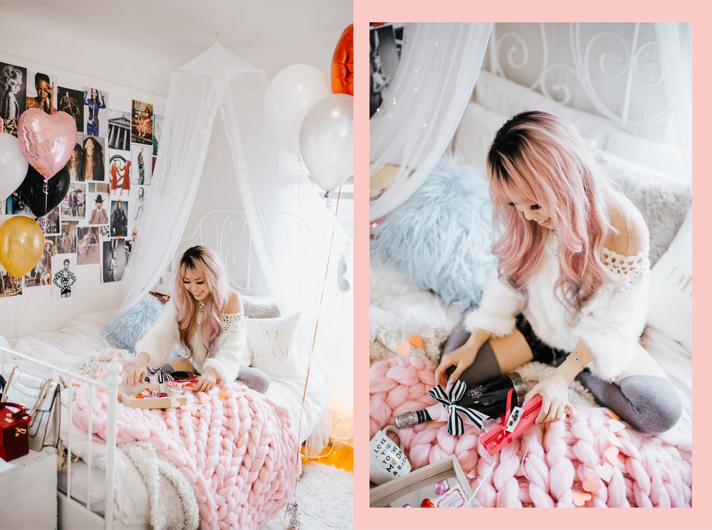 Segura Viudas Heredad Brut Reserva-Aika Yokoyama-AIkas Love Closet-special gift-galantine's day-valentine's day-sparkling wine-small room-chunky blanket-pink hair-fur pillow-chunky throw-japanese-lifestyle and style blogger-inspiration-seattle