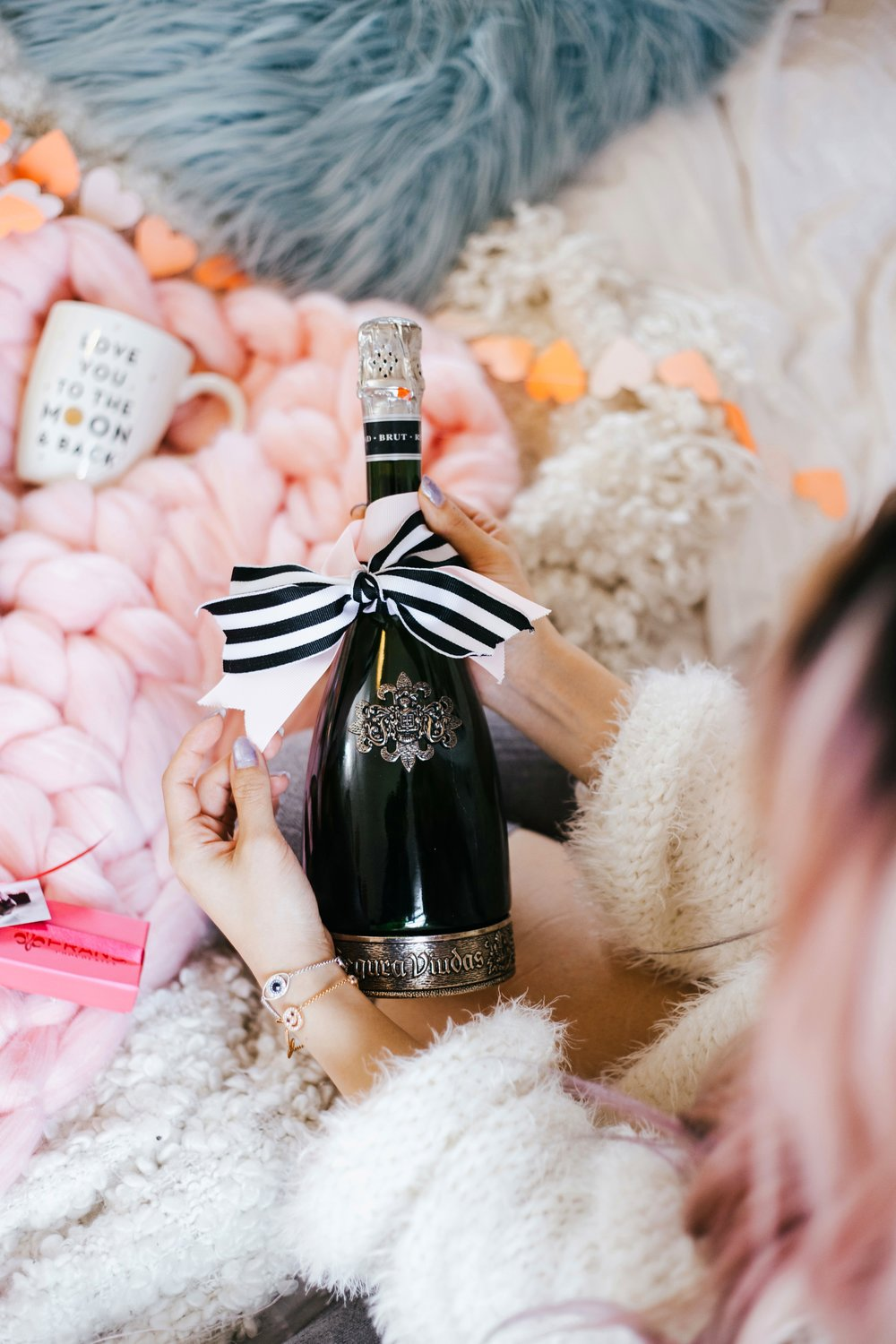 Segura Viudas Heredad Brut Reserva-I love you to the moon & back-heart chocolate-heart mini garland-Aika Yokoyama-AIkas Love Closet-special gift-galantine's day-valentine's day-sparkling wine-small room-chunky blanket-pink hair-fur pillow-chunky throw-japanese-lifestyle and style blogger-inspiration-seattle 2