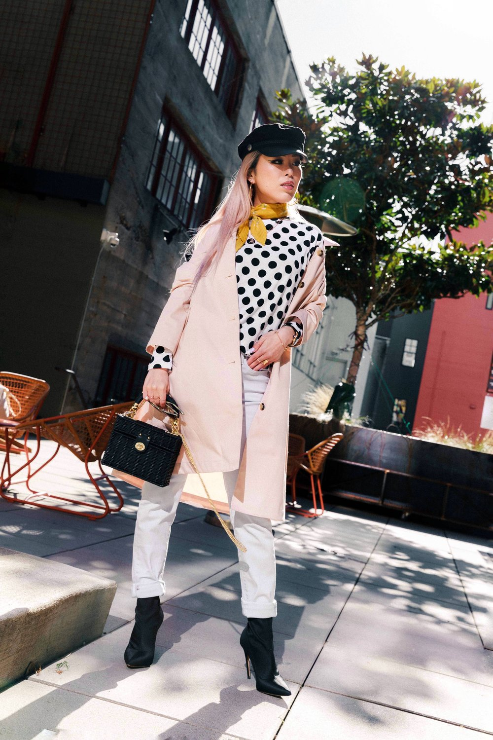 Uniqlo BLOCKTECH SOUTIEN COLLAR COAT-Yellow Floral Scarf-H&M Captain's Cap-Zara Polka dot Top-Zara MINAUDIÈRE BAG WITH BRAIDED HANDLE-Swarovski CRYSTAL WISHES HEART PENDANT SET, RED, MIXED PLATING-Ollie Quinn Sunglasses-ADEXE Watch-Uniqlo WOMEN HIGH RISE CIGARETTE JEANS-AikA's Love Closet-Seattle Style Blogger-Japanese-pink hair-petite fashion 10