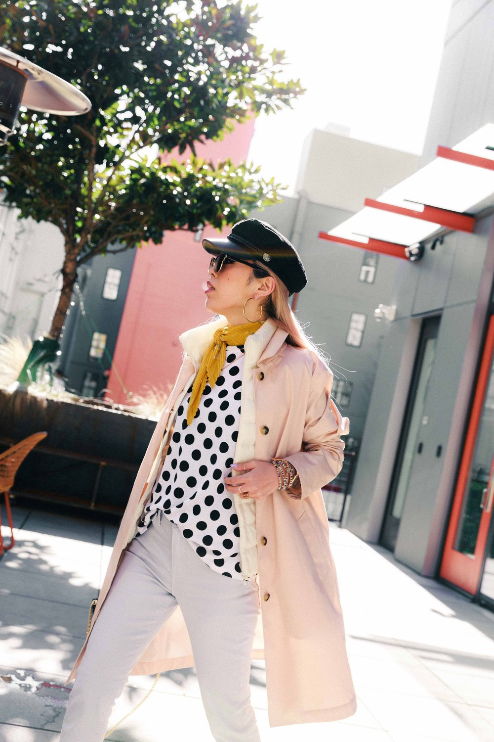 Argento Vivo Hoop Earrings-Uniqlo WOMEN ULTRA LIGHT DOWN VEST-Uniqlo BLOCKTECH SOUTIEN COLLAR COAT-Yellow Floral Scarf-H&M Captain's Cap-Zara Polka dot Top-Zara MINAUDIÈRE BAG WITH BRAIDED HANDLE-Swarovski CRYSTAL WISHES HEART PENDANT SET, RED, MIXED PLATING-Ollie Quinn Sunglasses-ADEXE Watch-Uniqlo WOMEN HIGH RISE CIGARETTE JEANS-ALDO Satin Ankle Boots-AikA's Love Closet-Seattle Style Blogger-Japanese-pink hair-petite fashion 12