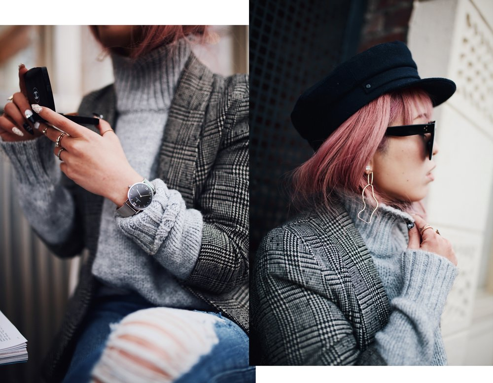 Kapten and Son watch-Zara Gray Turtleneck Sweater-Nordstrom Checked Blazer-ASOS Distressed frayed hem jeans-NAIGAI Glitter Ankle Socks-Black scrappy sandals-H&M White Crossbody Bag-Aritzia Fisherman Hat-Aika's Love Closet-Seattle fashion style blogger-pink hair-Japanese 8