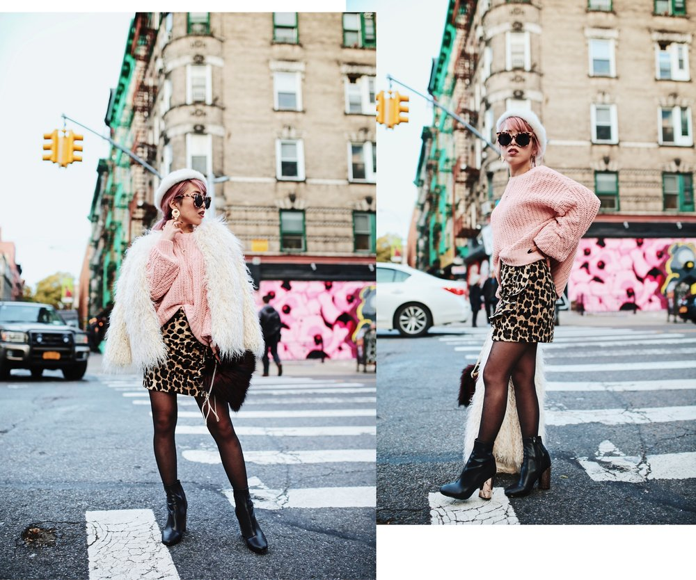 H&M Pink Sweater-Zara leopar prins mini skirt-H&M white shaggy coat-DVF fur bag-anthropologie white beret-Urban Outfitters Sunglasses-ALDO Ankle Boots-Mango Earrings-Aikas Love Closet-New York City-Pink Hair-Style Fashion Blogger-Seattle-Japanese_Petite fashion blogger 10