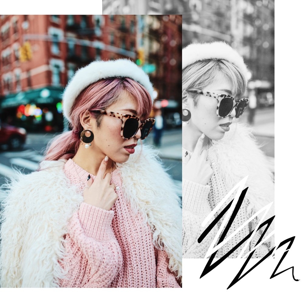H&M Pink Sweater-Zara leopar prins mini skirt-H&M white shaggy coat-DVF fur bag-anthropologie white beret-Urban Outfitters Sunglasses-ALDO Ankle Boots-Mango Earrings-Aikas Love Closet-New York City-Pink Hair-Style Fashion Blogger-Seattle-Japanese_Petite fashion blogger 17