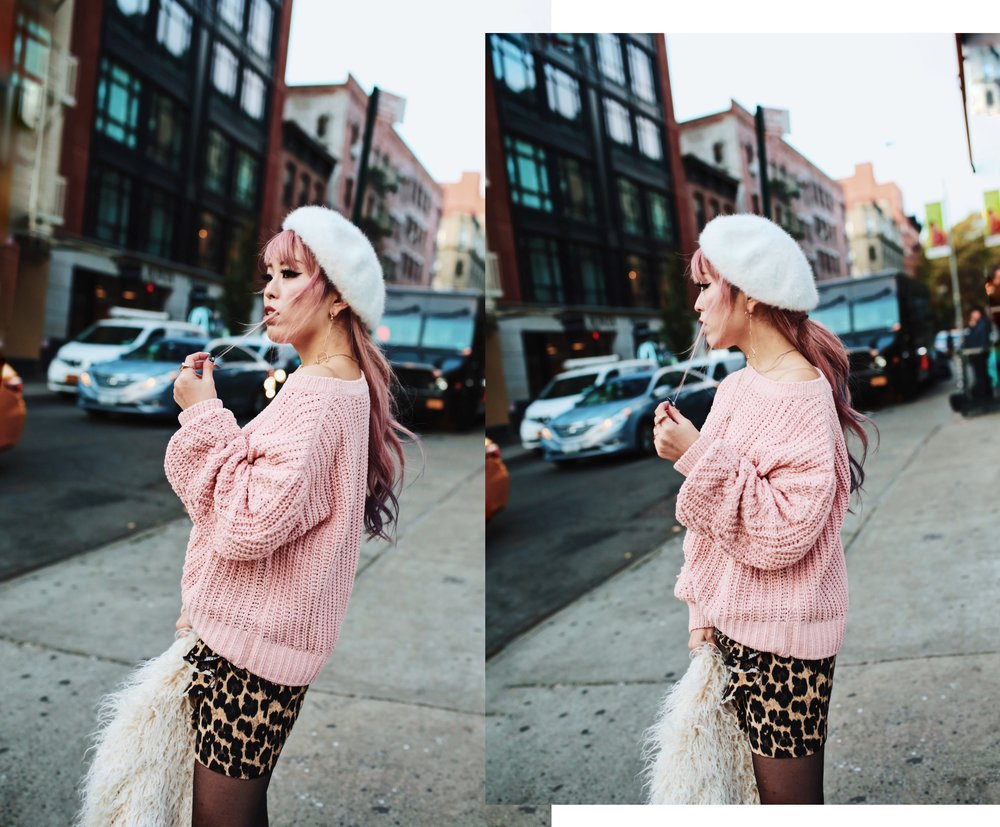 H&M Pink Sweater-Zara leopar prins mini skirt-H&M white shaggy coat-DVF fur bag-anthropologie white beret-Urban Outfitters Sunglasses-ALDO Ankle Boots-Mango Earrings-Aikas Love Closet-New York City-Pink Hair-Style Fashion Blogger-Seattle-Japanese_Petite fashion blogger 24